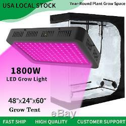 1800W Led Grow Light Veg Flower Plant Light + 4' x 2' Hydroponic Grow Tent Kit