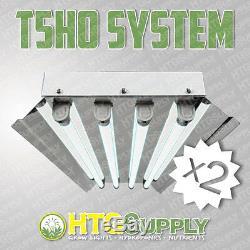 2-PACK 2'/4-LAMP T5 HO FLUORESCENT GROW LIGHT With 6400K HIGH-OUTPUT VEG BULBS 2FT