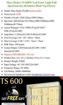 2 used Mars Hydro TS 600W LED Grow Light Full Spectrum Veg Bloom IR