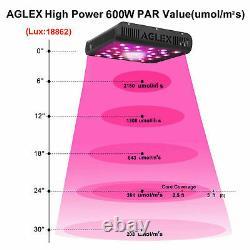 AGLEX COB 600W LED Grow Light Full Spectrum for Indoor Plants Veg Bloom IR 2PCS
