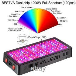 BESTVA 1500W LED Grow Light Full Spectrum IR Indoor Plants VEG Bloom Panel