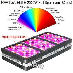 BESTVA Reflector 2000W Full Spectrum Hydro LED Grow Light with VEG Bloom Switch