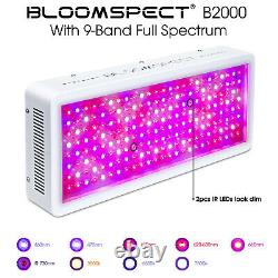 BLOOMSPECT 2000W LED Grow Light Full Spectrum with Reflector VEG&BLOOM Switches