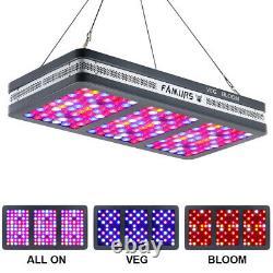 FAMURS 2000W Triple Chip Full Spectrum VEG BLOOM Reflector LED Grow Light