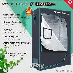 Grow Tent 4'×2'×6' Kit+Mars Hydro 600W Led Grow Light Veg Flower Plant Lamp