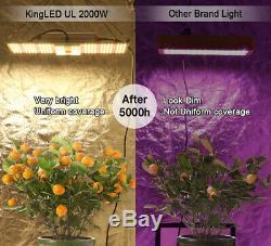 King Plus 2000W LED Grow Light Full Spectrum Plants Light Veg and Flower Growing