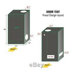 LED 300W Grow Light Kit +Grow Tent Room+4 Ventilation Kit for Veg and Bloom