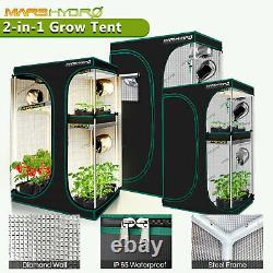 Mars Hydro 2 in 1 Indoor Grow Tent For Veg Flower Seed Reflective Mylar Home Box