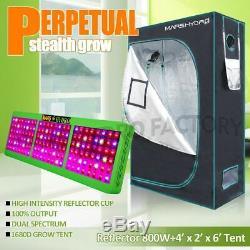 Mars Hydro Reflector 800W Led Grow Light Veg Flower Plant+4'×2'×6' Grow Tent Kit