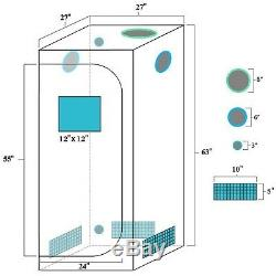 Mars II 400W LED Grow Light Veg Flower Plant+27''×27''×63'' Indoor Grow Tent Kit