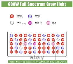 Phlizon 600W LED Grow Light Full Spectrum for Indoor Plants Hydro Veg and Flower