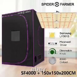 Spider Farmer 4000W LED Grow Light+5'X5'X6.5' Indoor Grow Tent Veg And Flowering