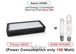 Upgraded 600W LED Grow Light Kits Full Spectrum Veg&Bloom for Indoor Hydroponics