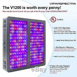 VIPARSPECTRA 2PCS 1200W LED Grow Light 12 Band Full Spectrum for Plant VEG BLOOM
