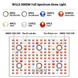 1000/2000 / 3000w Cob Led Grow Light Full Spectrum Veg Fleur Intérieur Hydro Médicale