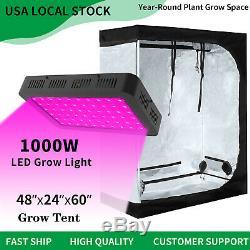 1000w Led Grow Light Veg Usine De Fleur Lumière + 4' X 2' Hydroponique Grandir Kit Tente