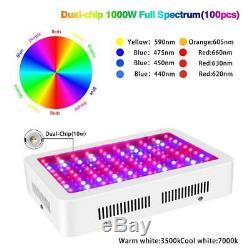 1000w Led Pleine Lumière Plante Pousse Spectre Lampe À Effet De Serre D'intérieur Veg Fleur Fruit