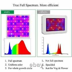 1200 W Led Grow Light Full Spectrum Veg Bloom Flower 2 Interrupteur Timing + Don De Lampe