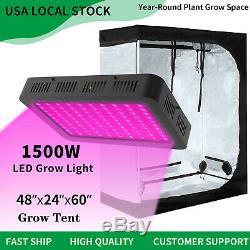 1500w Led Grow Light Veg Usine De Fleur Lumière + 4' X 2' Hydroponique Grandir Kit Tente