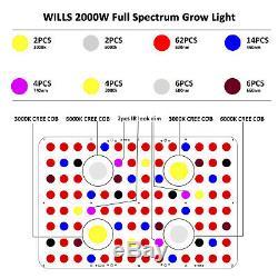 2000w 4xcob Led Grow Light Full Spectrum Crie Pour Plantes D'intérieur Veg Flower Bloom