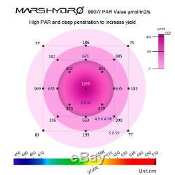 2pcs Mars Réflecteur 1000w Led Grow Lampe Kit Full Spectrum Hydro Veg Flower