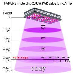 Famurs 2000w Triple Chip Réflecteur Full Spectrum Led Grow Light Veg Bloom