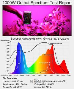 King 1000w Double Chips Led Full Spectrum Se Développent Légère Hydroponique Intérieure Veg