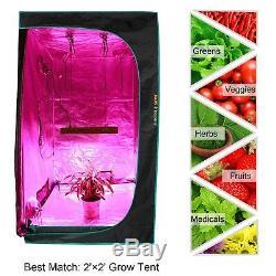 Réflecteur 600w Led Grow Light Veg Fleur + 2'x2' Tente Intérieure Grossir Box Chambre