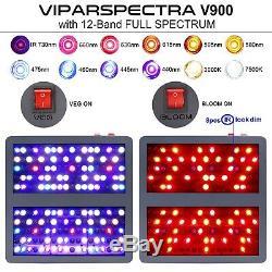 Viparspectra 900w Led Grow Light 12 Full Spectrum Band Avec Veg Bloom Commutateurs